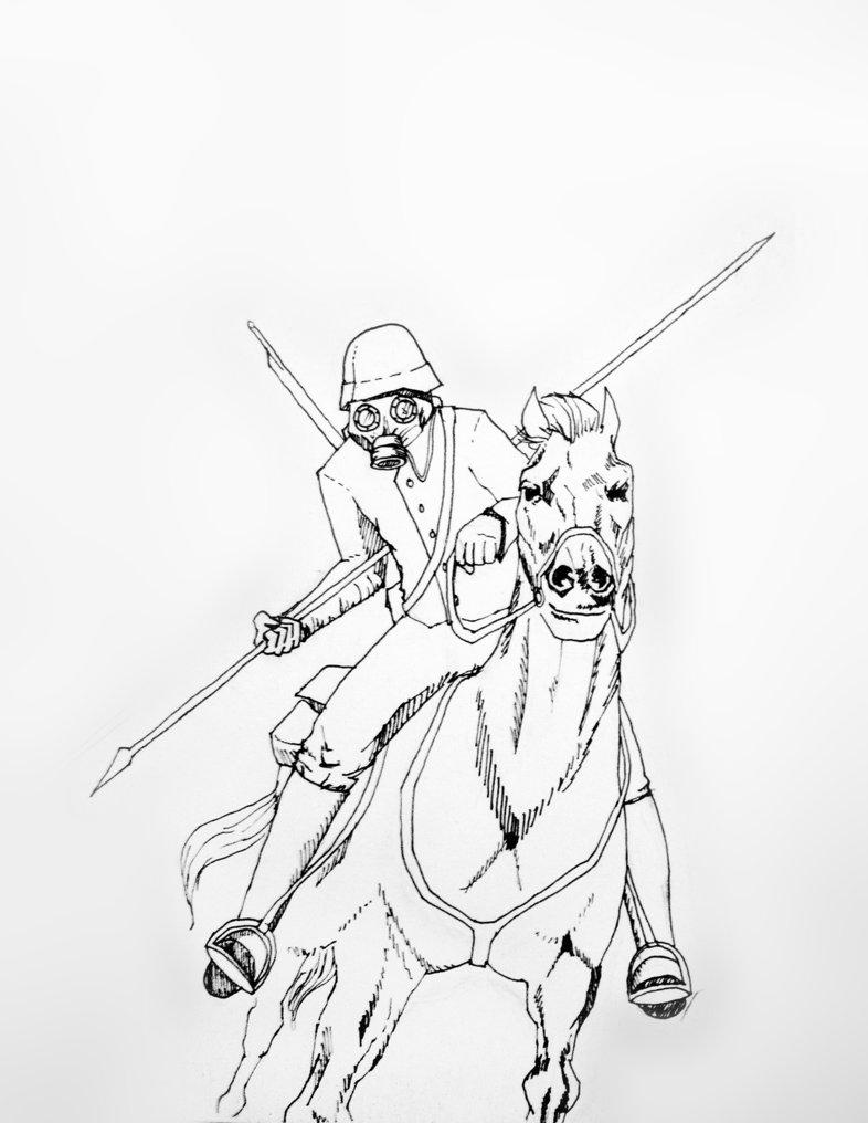 786x1016 World War 1 Horseman With Gasmask By Tzmitzki