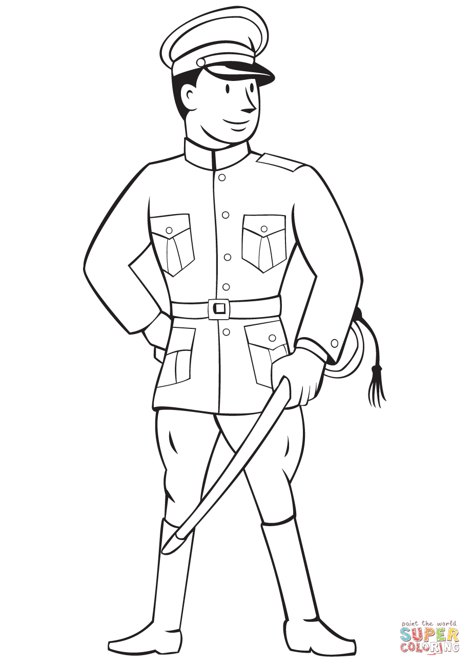 919x1300 World War 1 Officer Coloring Page Free Printable Coloring Pages