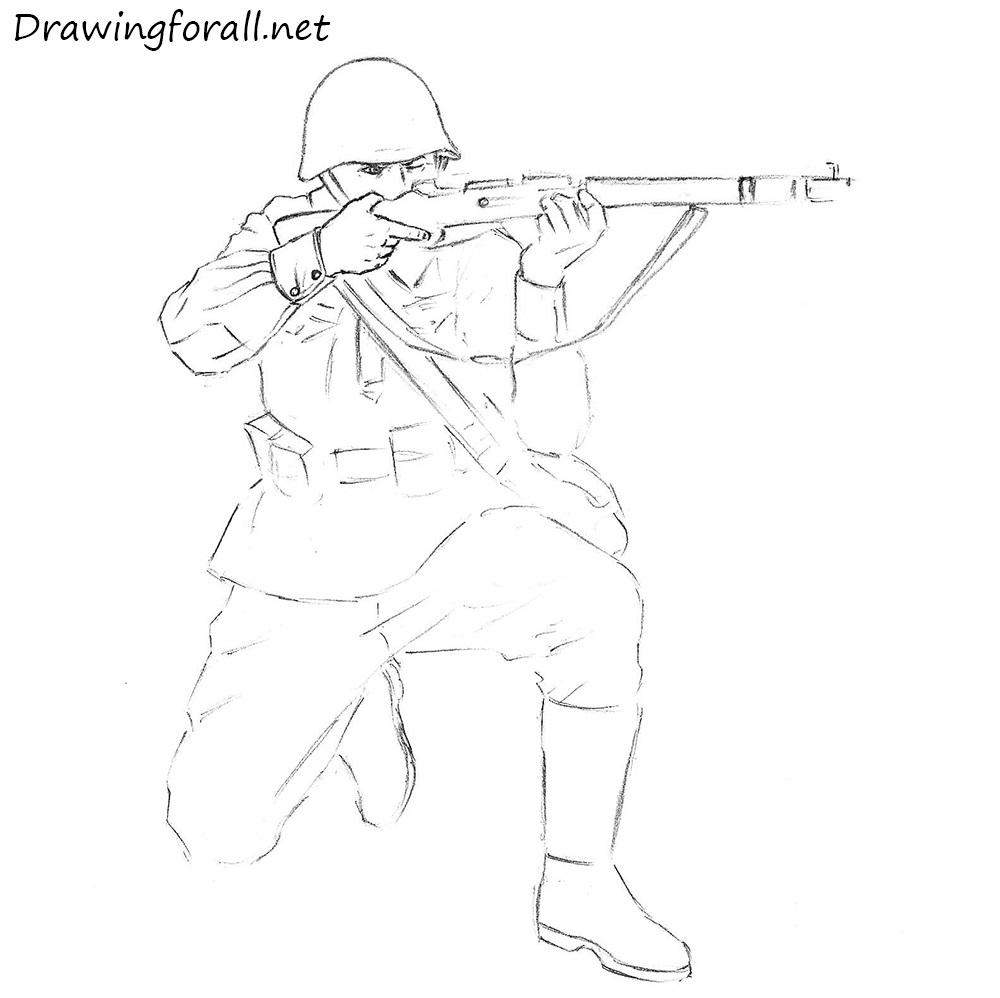 1000x998 Drawn Soldier World War 2 Soldier