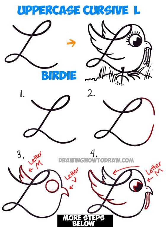 561x768 How To Draw Cartoon Bird With Worm From Uppercase Cursive L Easy