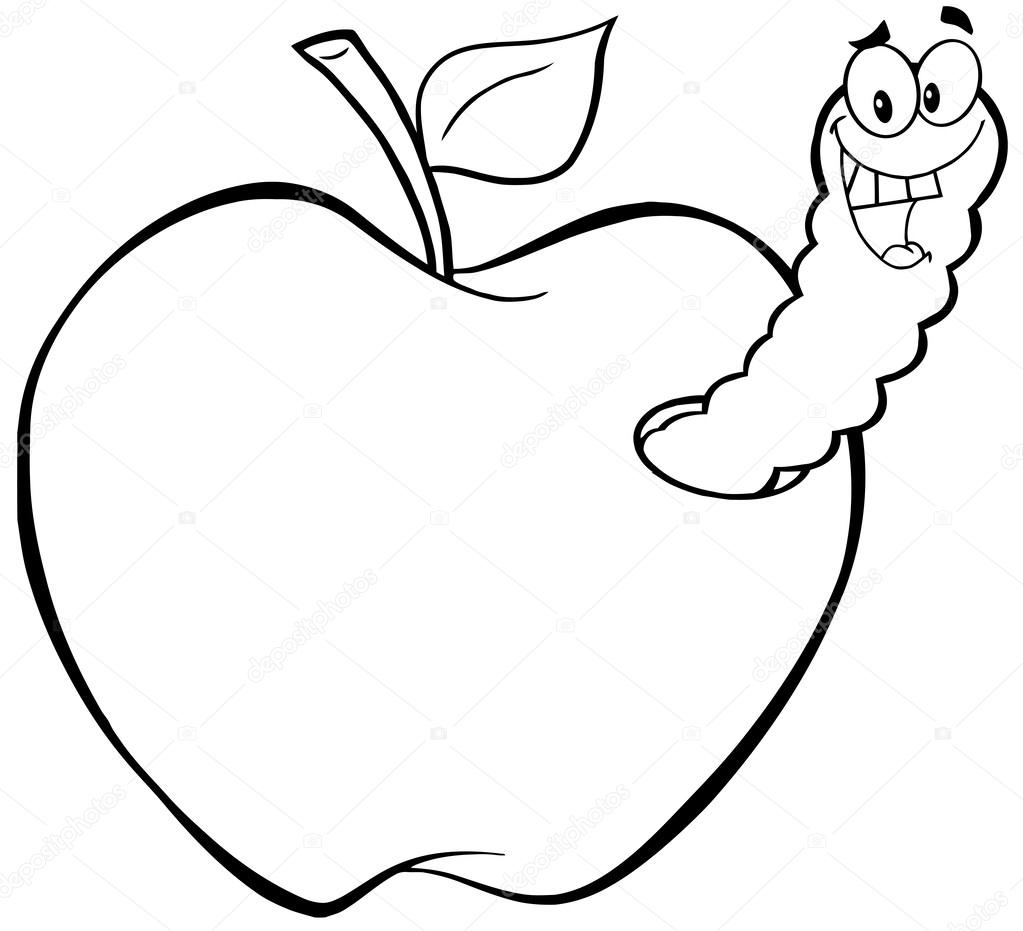 1023x931 Outlined Happy Worm In Apple Stock Photo Hittoon