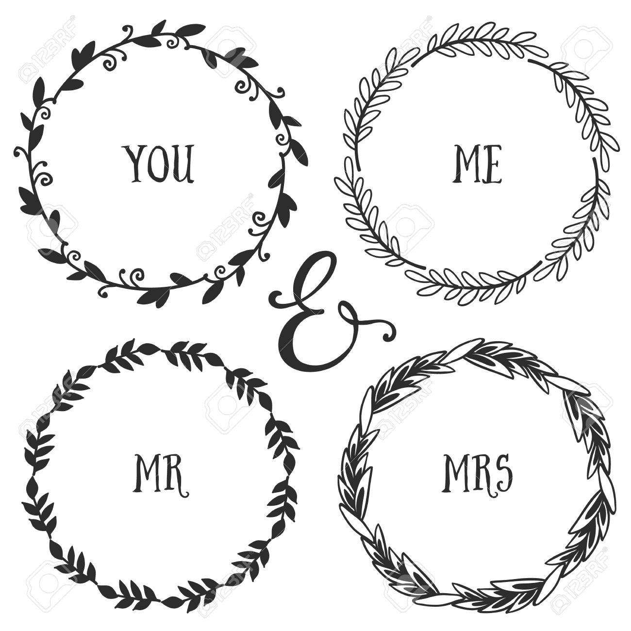 1300x1300 Hand Drawn Rustic Vintage Wreaths With Lettering Floral Vector