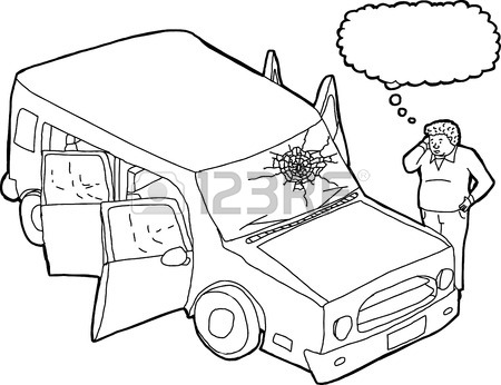 450x346 Cartoon Of Isolated Red Damaged Suv Car On White Royalty Free
