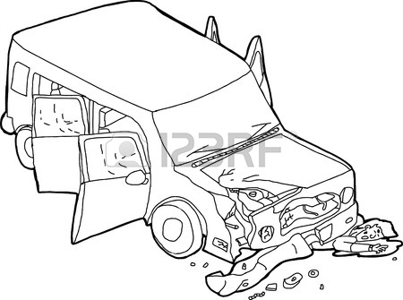 450x335 Cartoon Outline Of Isolated Damaged Suv Car On White Royalty Free