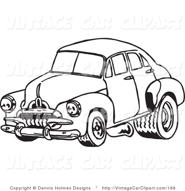 600x620 Clipart Of A Vintage Black And White Racing Fj Holden Car By