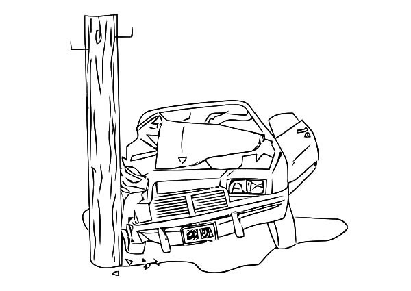 Wrecked car drawing at free for personal for Car crash coloring pages