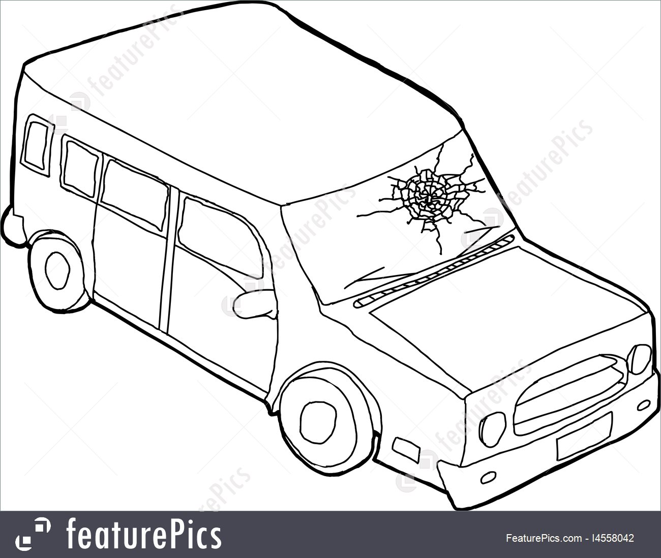 1300x1098 Outline Of Car With Fractured Window Stock Illustration I4558042
