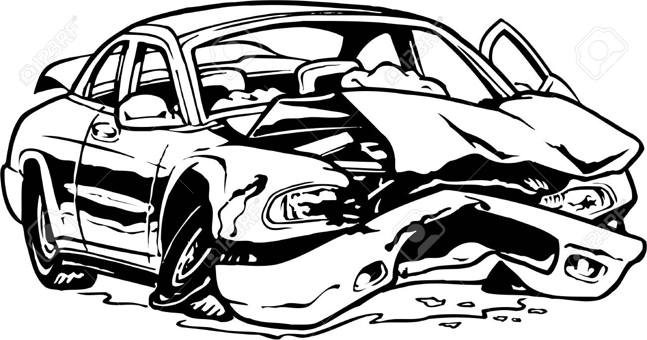 1300x683 Wrecked Car Illustration Royalty Free Cliparts, Vectors, And Stock