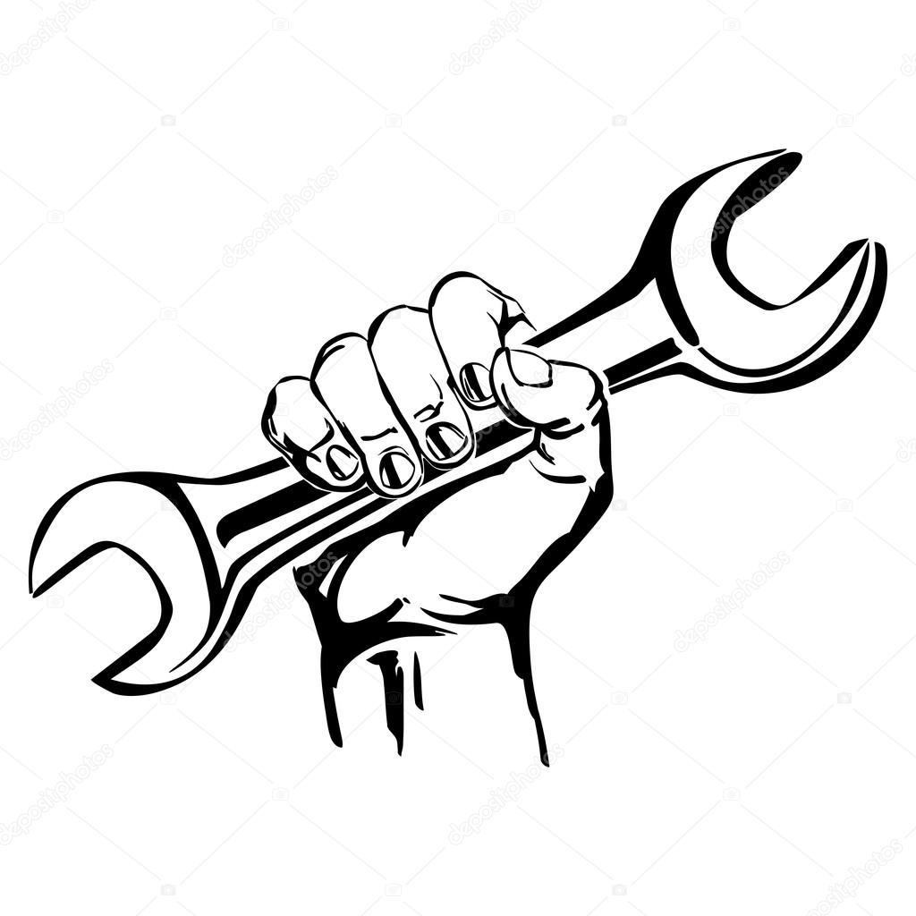 1024x1024 Hand Holding Wrench Vector Stock Vector Vladischern