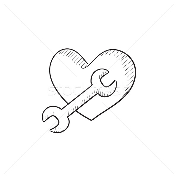 600x600 Heart With Wrench Sketch Icon. Vector Illustration Andrei