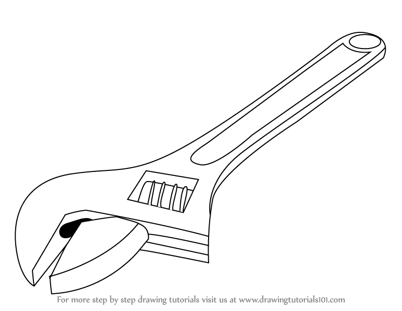 794x615 Learn How To Draw An Adjustable Spanner (Tools) Step By Step