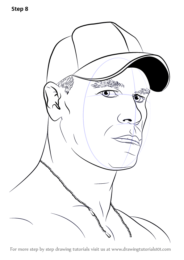 596x842 Learn How To Draw John Cena (Wrestlers) Step By Step Drawing