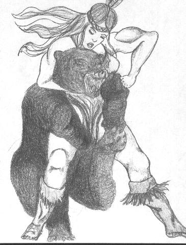 365x480 Indian Maiden Wrestling A Bear By Phillipvandamme