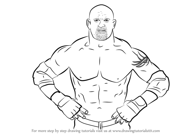 800x566 Learn How To Draw Bill Goldberg (Wrestlers) Step By Step Drawing