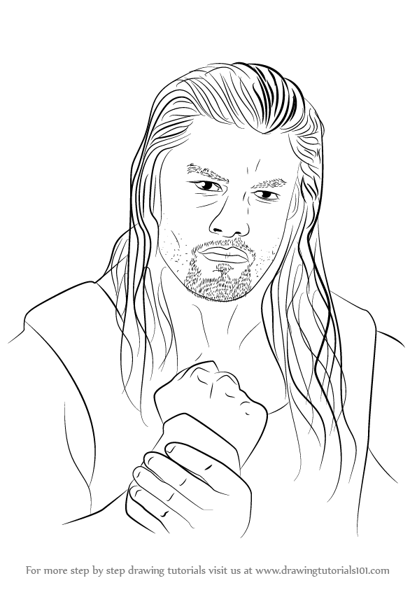 596x843 Learn How To Draw Roman Reigns (Wrestlers) Step By Step Drawing
