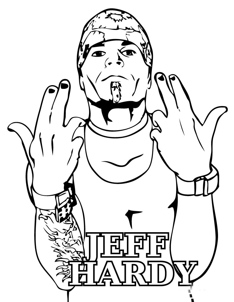 820x1060 Coloring Book Wwe Jeff Hardy Pages Free Printable For Wwe 820x1060
