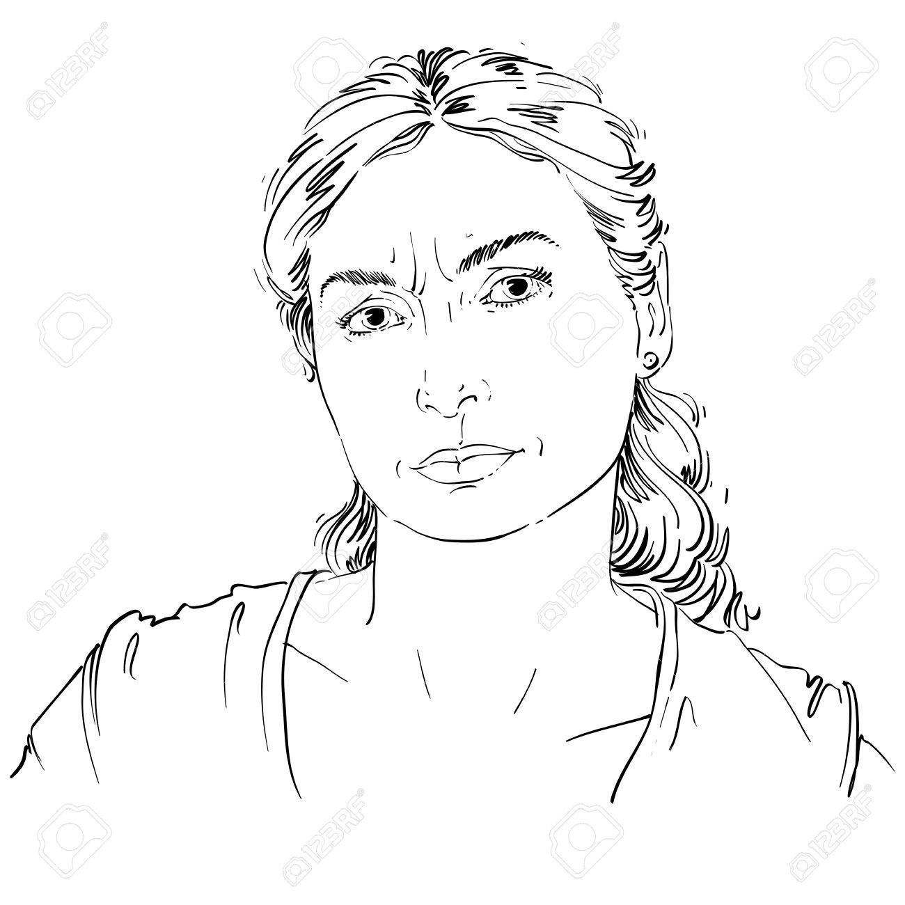1300x1300 Hand Drawn Portrait Of White Skin Doubtful Woman, Face Emotions