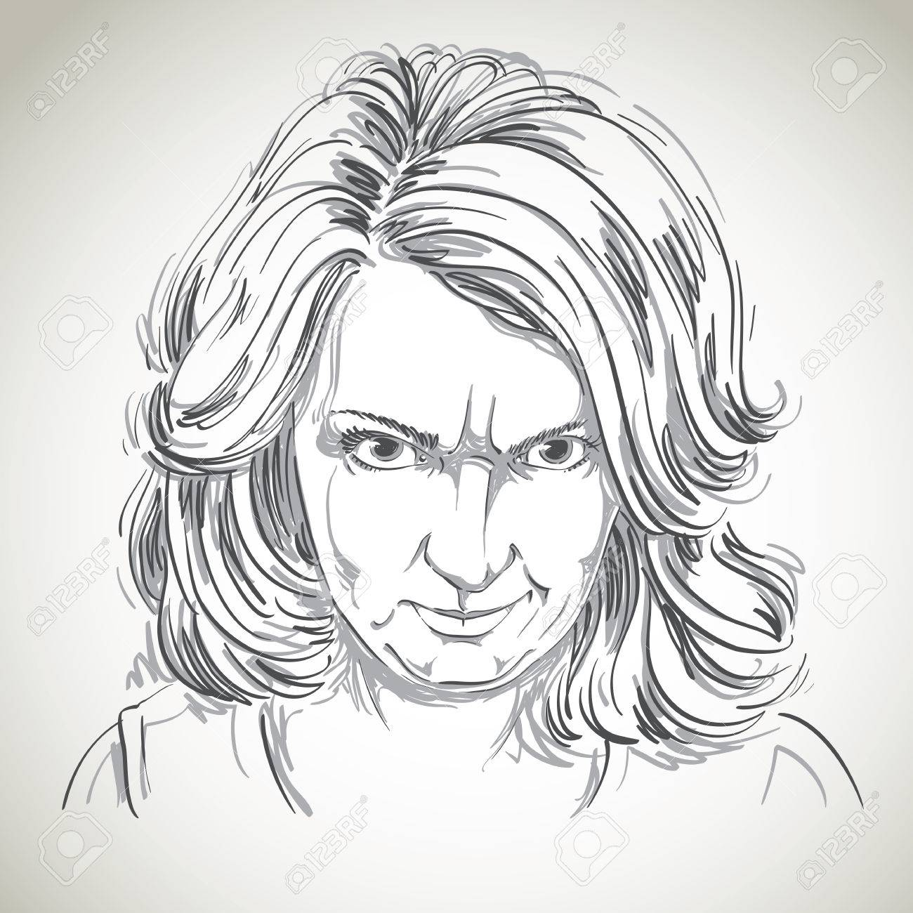 1300x1300 Hand Drawn Portrait Of White Skin Arrogant Woman With Wrinkles