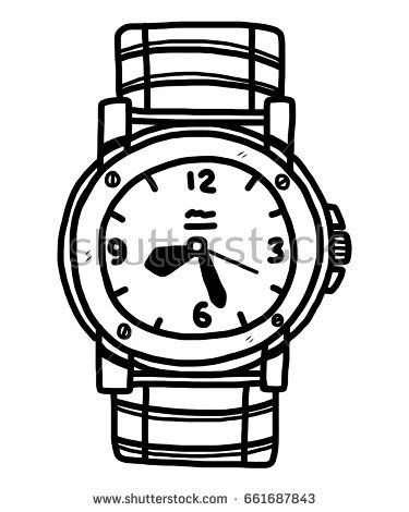 375x470 New Black Circle Background Vector Sketch Classic Mens Wrist Watch