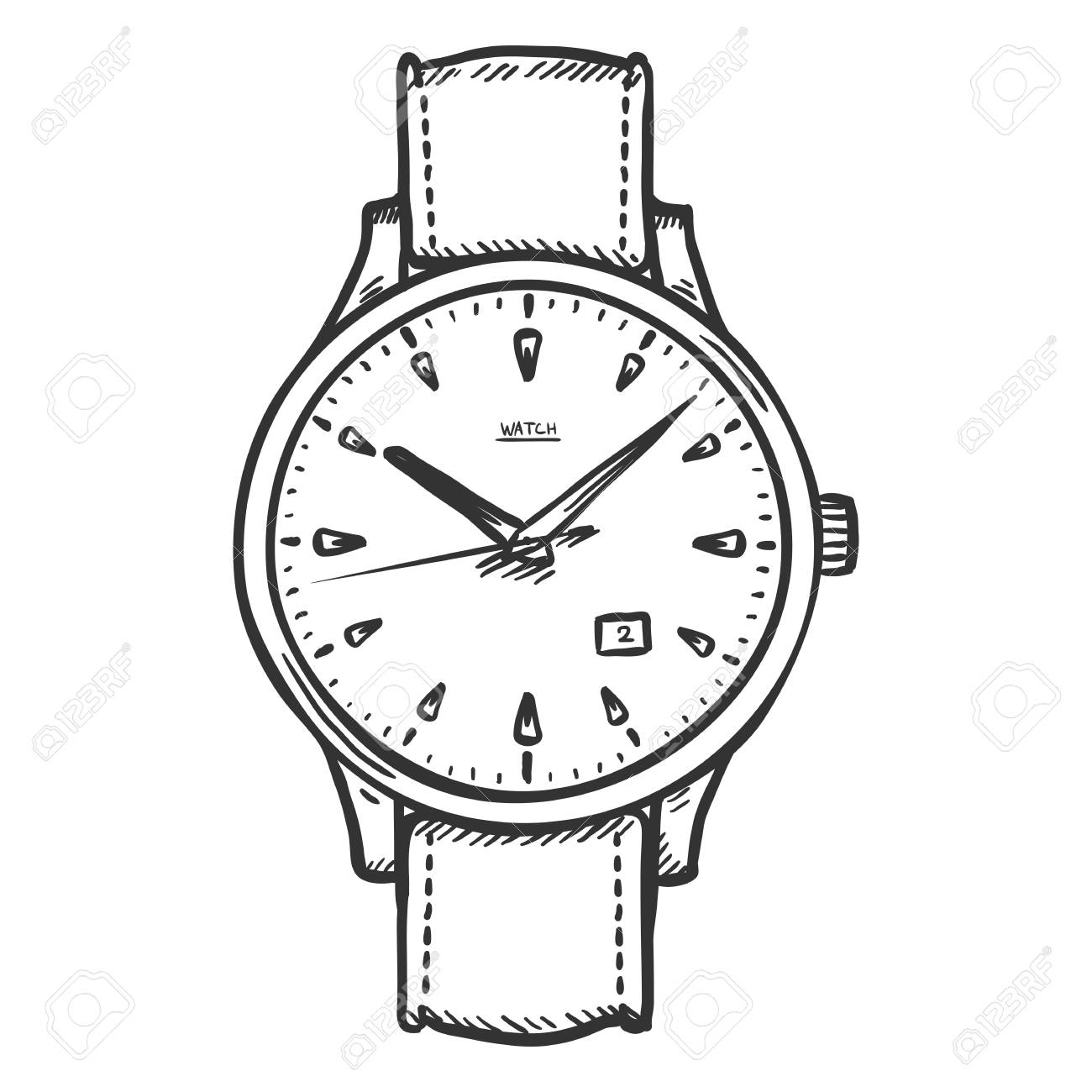 1300x1300 Vector Sketch Retro Wrist Watch On White Background Royalty Free