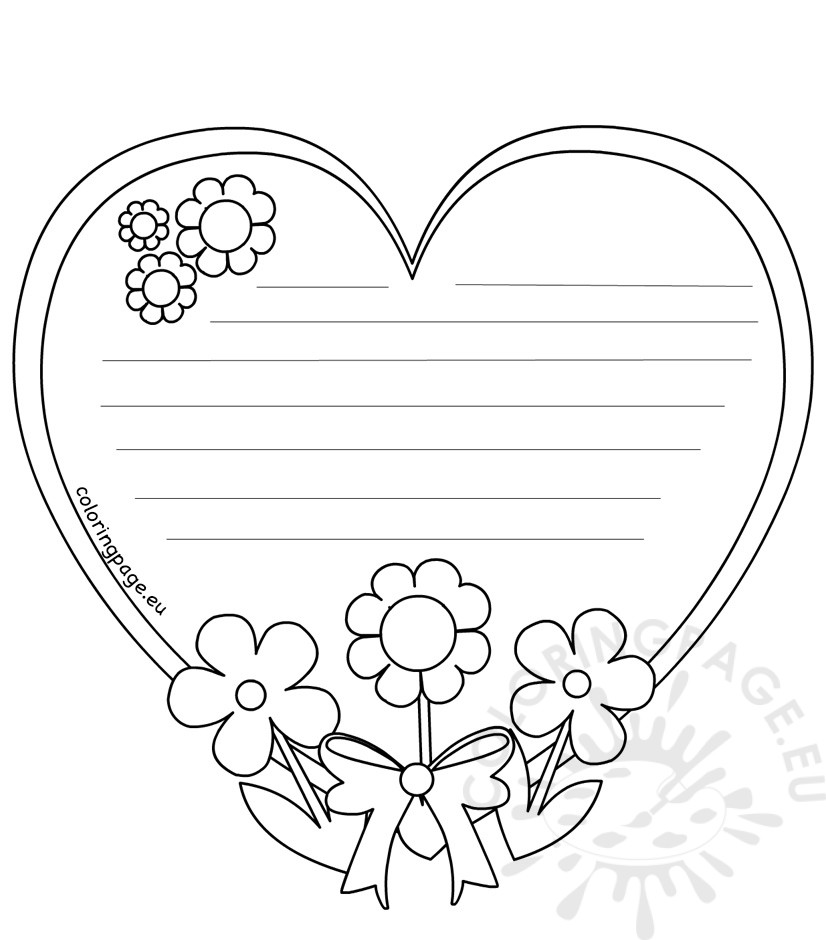 826x940 Heart Writing Template Mothers Day Coloring Page