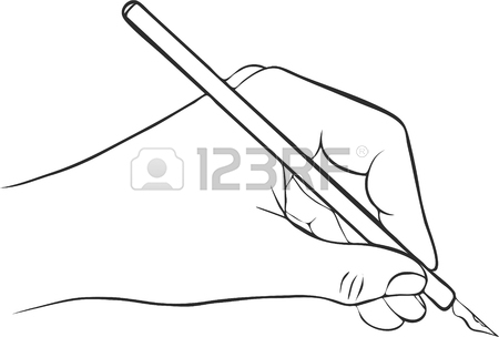 450x304 Writing Hand With Ink Pen, Drawing Left Hand, Hand Drawn Vector