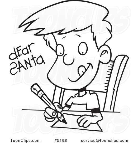 581x600 Cartoon Black And White Line Drawing Of A Boy Writing Dear Santa