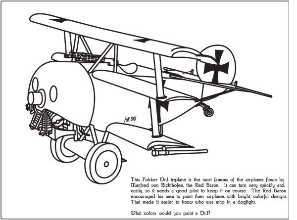600x445 Coloring Page Of The Red Baron's Tri Plane Wwi Aircraft Art