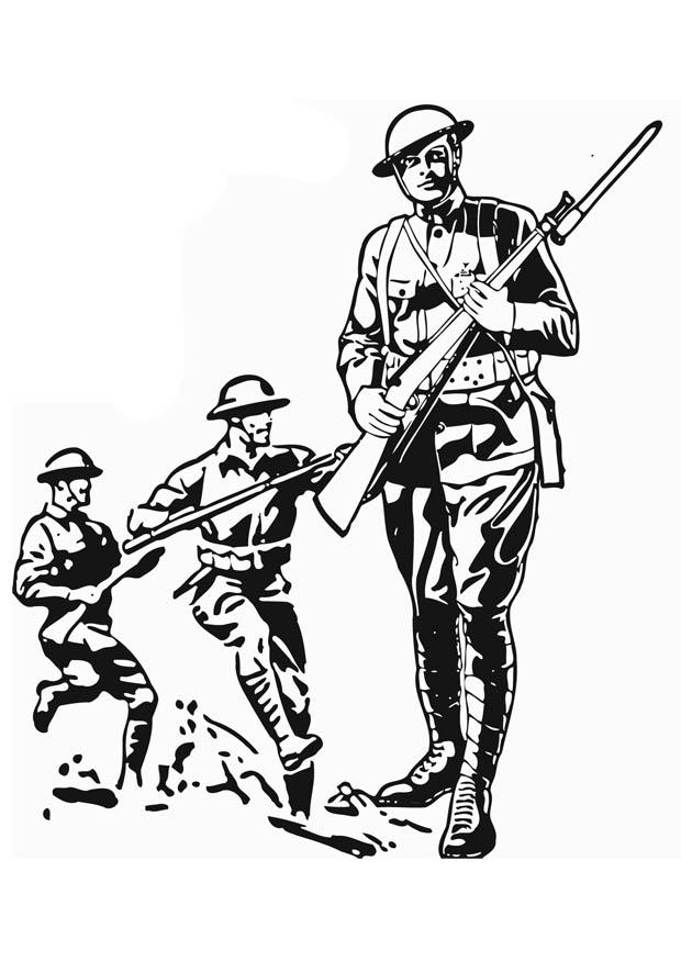 620x875 Coloring Page Soldier Wwi