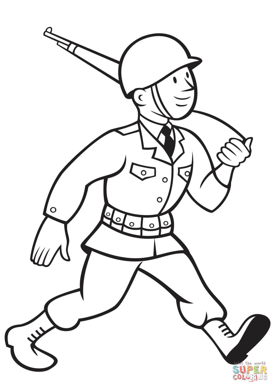 919x1300 Ww2 American Soldier Marching With Rifle Coloring Page Free