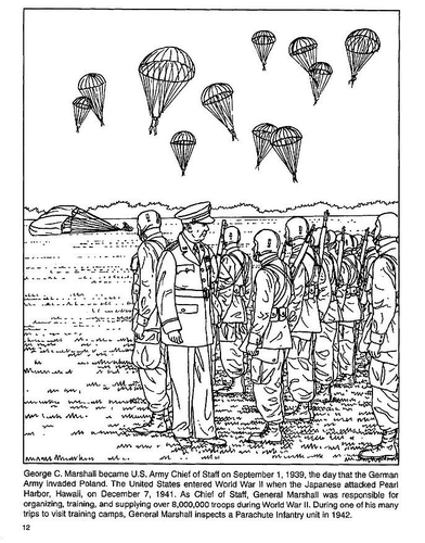 392x500 Ww2 Coloring Page General George Marshall Inspects Paratroopers