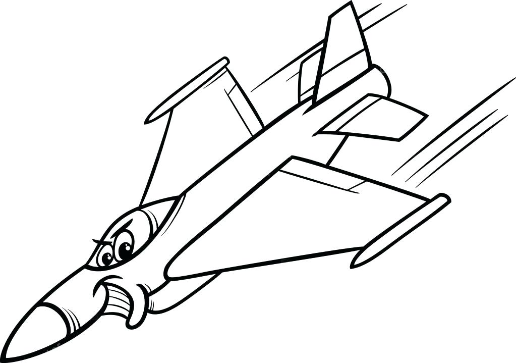 1023x719 Coloring Plane Black And White Cartoon Illustration Of Funny Jet