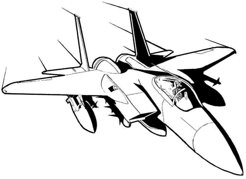 824x600 Jet Fighter Coloring Pages