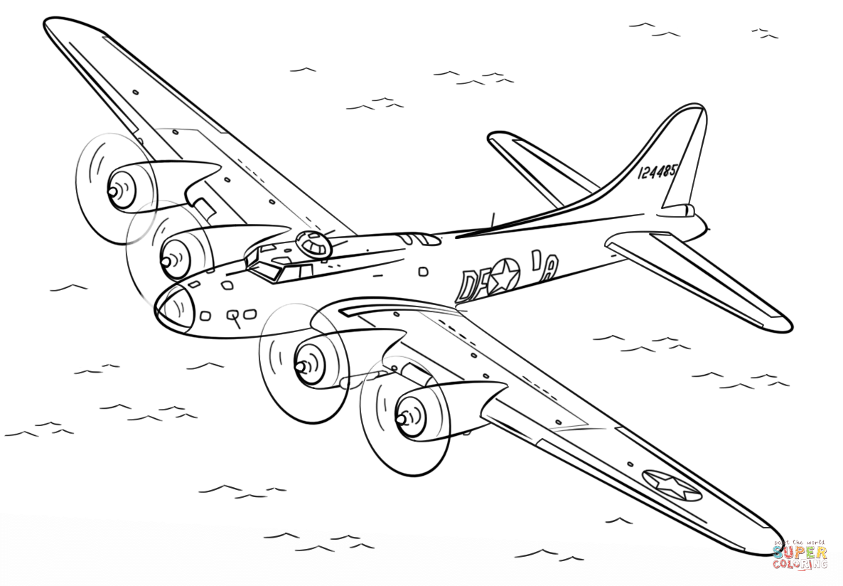 1186x824 B 17 Flying Fortress Coloring Page Free Printable Coloring Pages