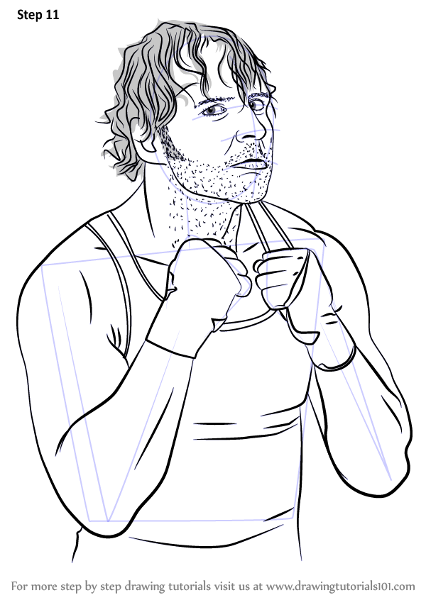 600x846 Learn How To Draw Dean Ambrose (Wrestlers) Step By Step Drawing