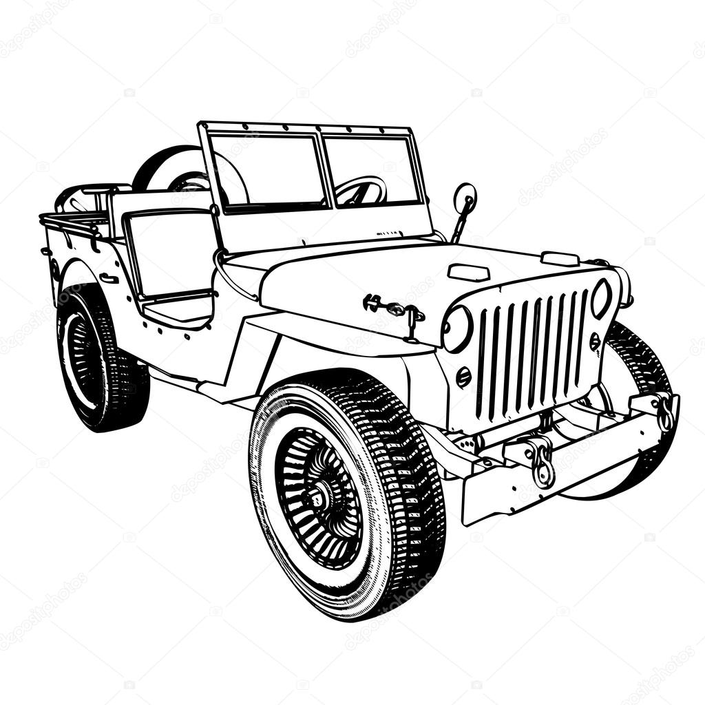 1024x1024 Vintage Wwii American Jeep Stock Vector Kotkoa