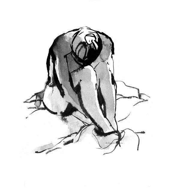 570x652 Nude Female Ink Wash Figure Drawing, Woman Bathing, Female Sitting