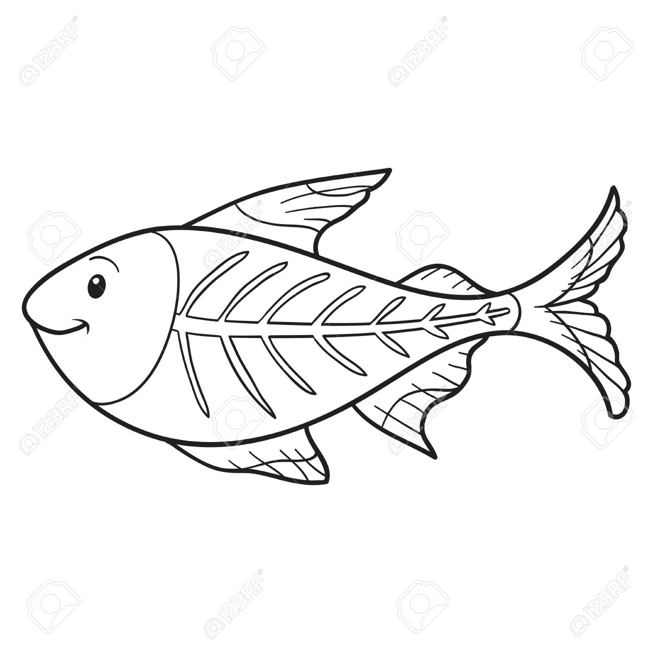 1300x1300 X Ray Fish Coloring Page