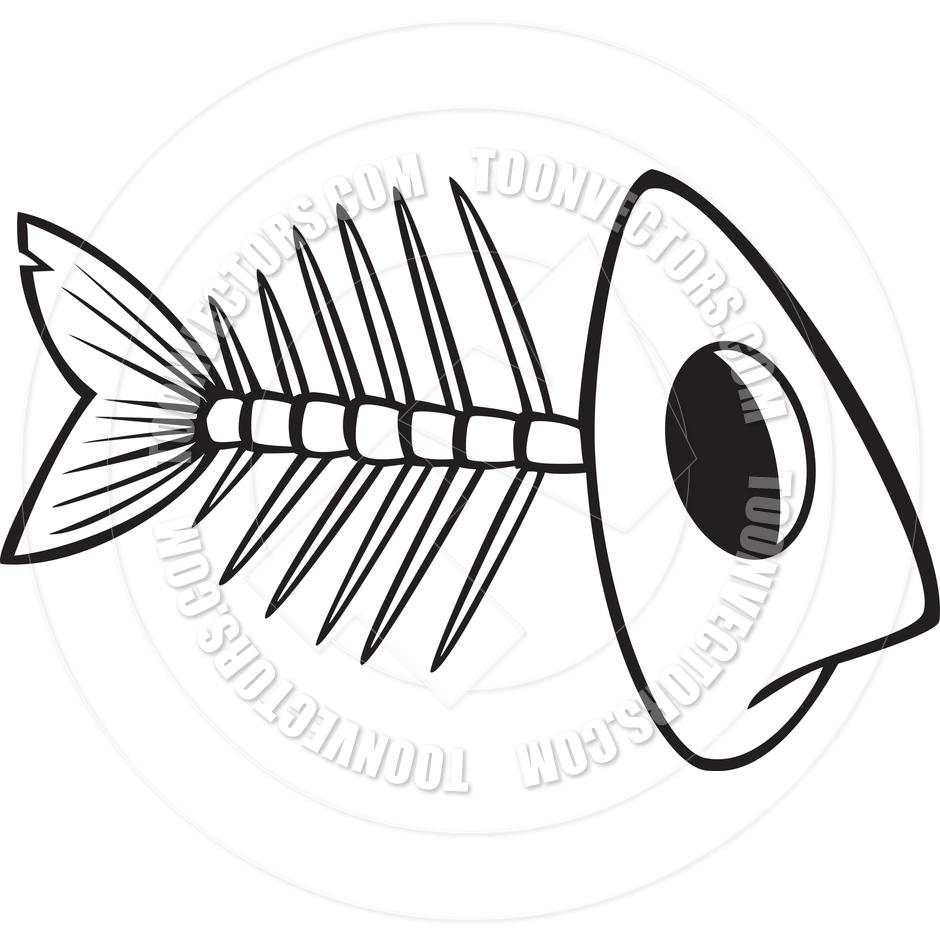 940x940 Cartoon Fish Bones (Black And White Line Art) By Ron Leishman