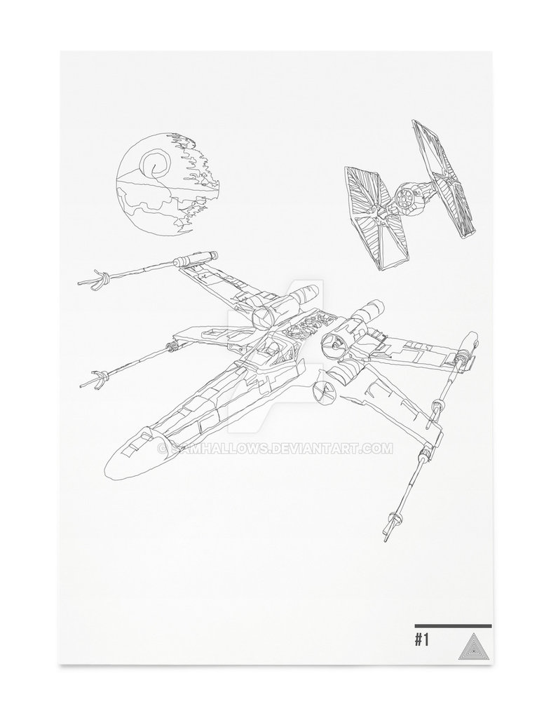 786x1017 X Wing Scene Star Wars Continuousline Illustration By Samhallows