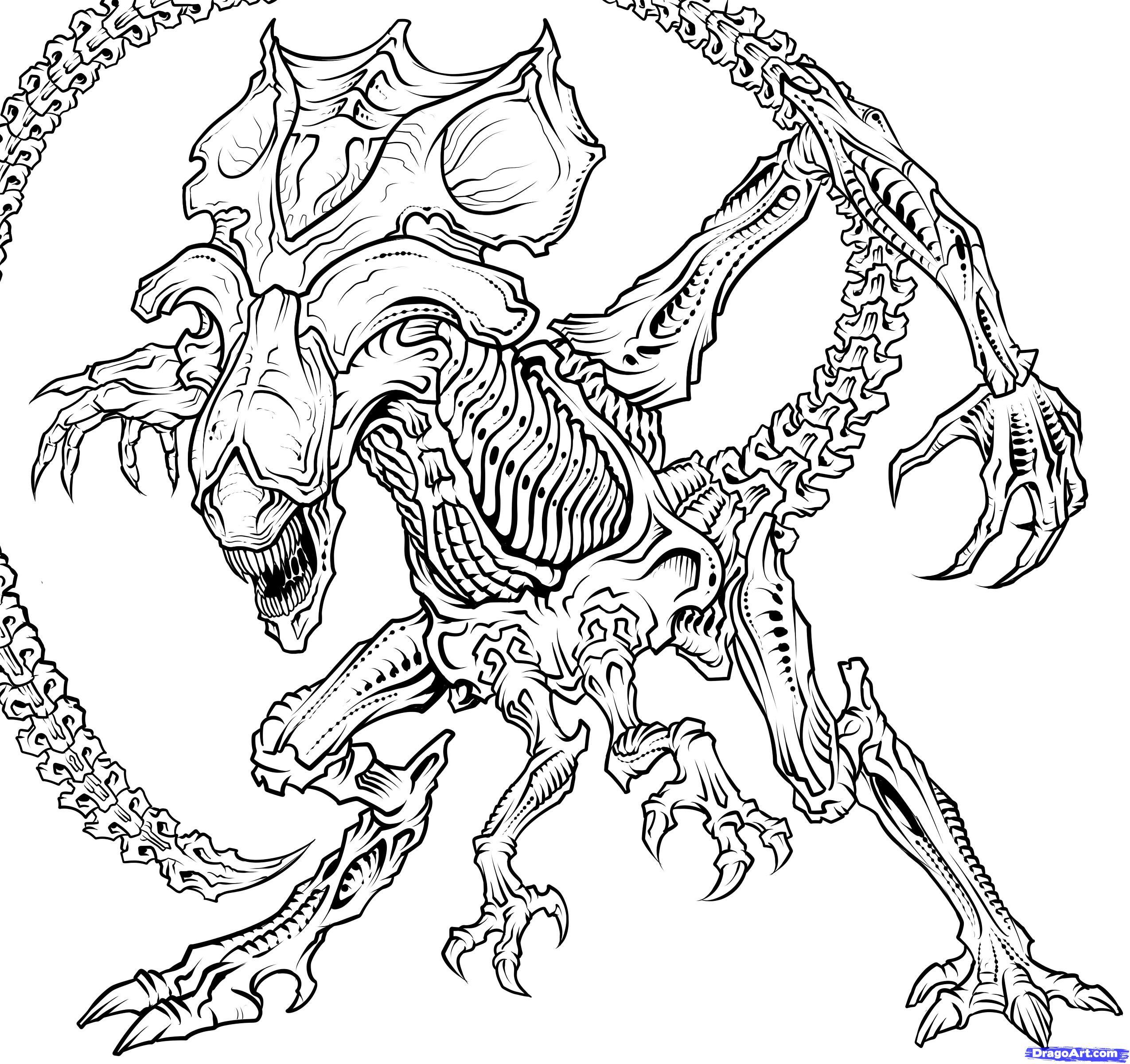 2550x2400 Drawing Of An Alien 14. How To Draw A Queen Alien, Queen Xenomorph