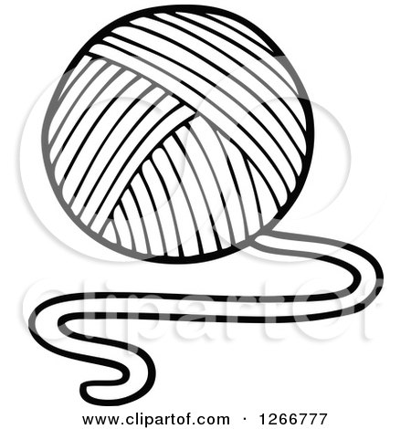 450x470 Clipart Of A Black And White Ball Of Yarn