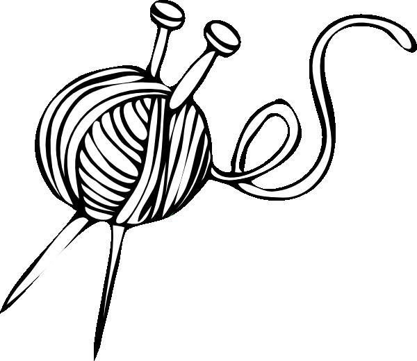 600x520 White Yarn Ball With Knitting Needles Clip Art