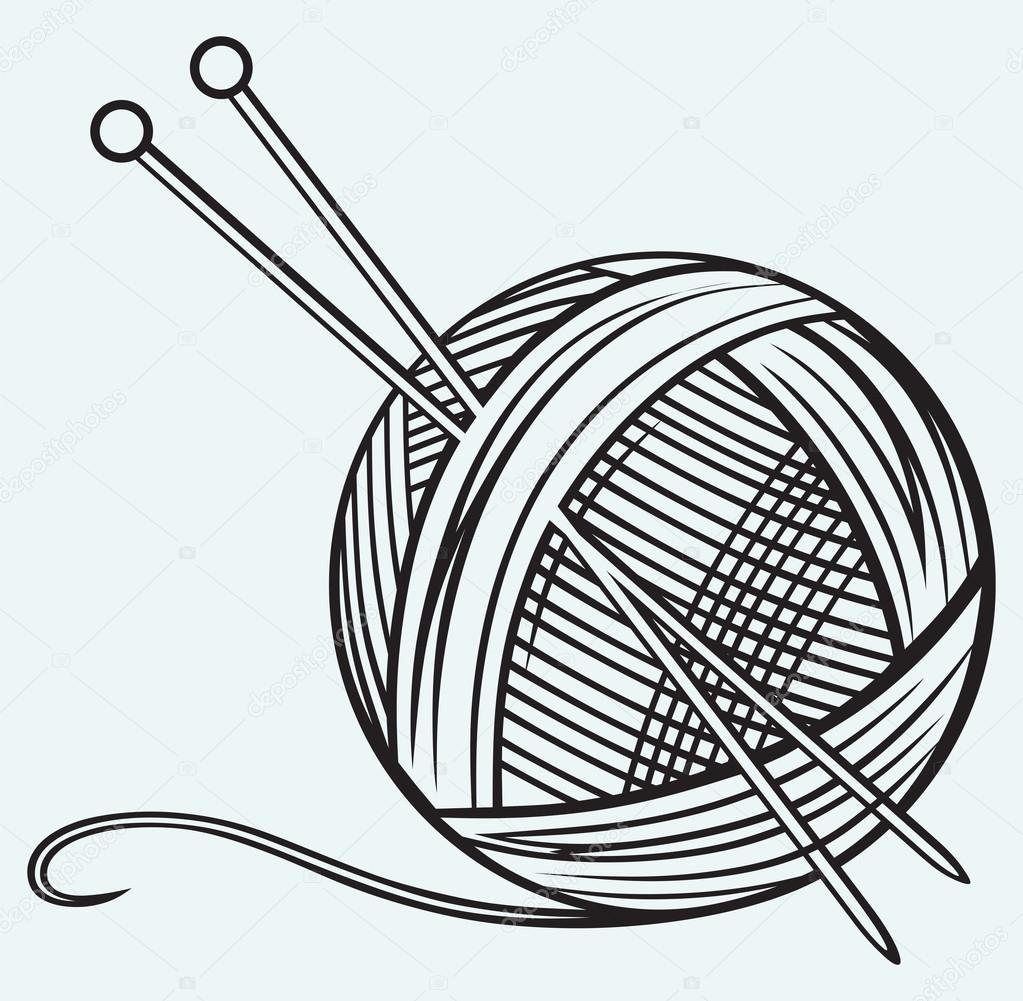 1023x1001 Ball Of Yarn Drawing Of Yarn And Needles Stock Vector
