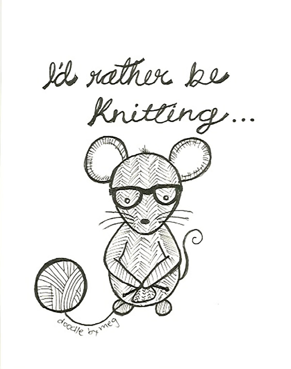 1200x1524 4 Pack Knitting Quotecard, Knit, Quote, Postcard, Drawing