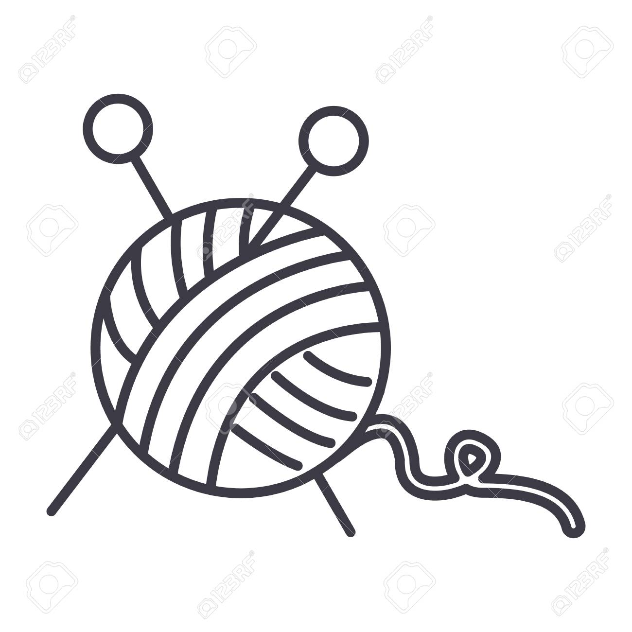1300x1300 Sewing,ball Of Yarn,knitting Needles Vector Line Icon, Sign