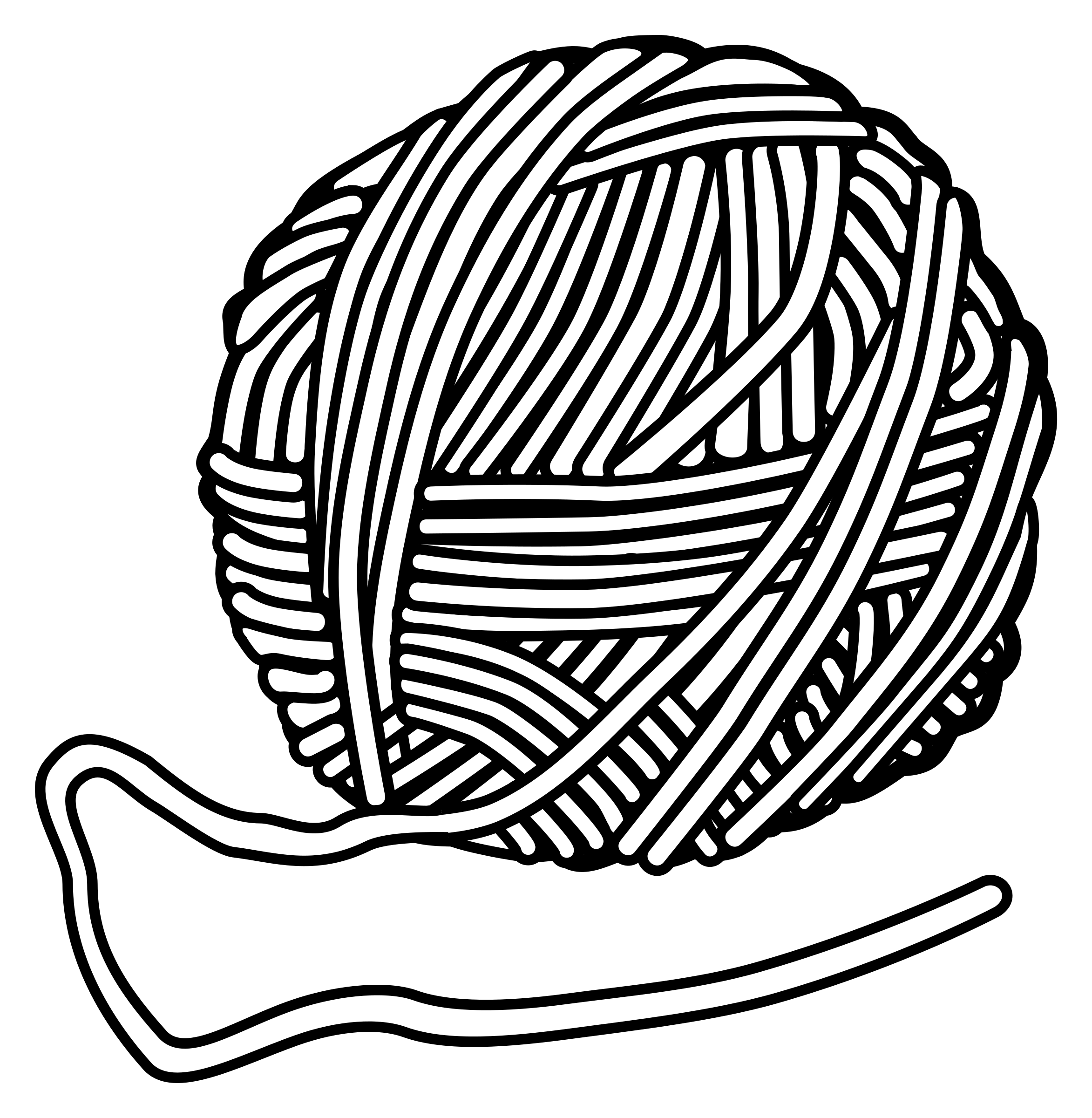 2345x2400 Yarn Clipart Black And White
