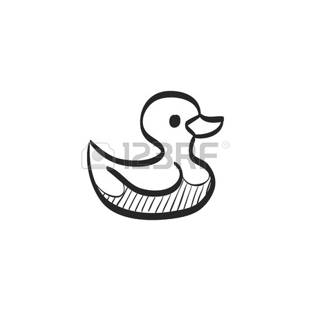 450x450 Rubber Duck Icon In Doodle Sketch Lines. Kids Bathing Animal