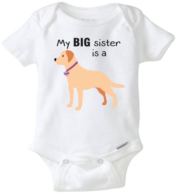 570x625 My Big Sister Is A Yellow Lab Baby Onesie Dog Onesie Custom