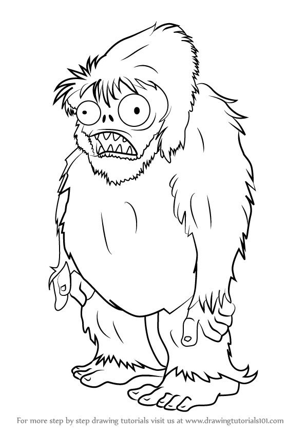 596x843 Learn How To Draw Zombie Yeti From Plants Vs. Zombies (Plants Vs